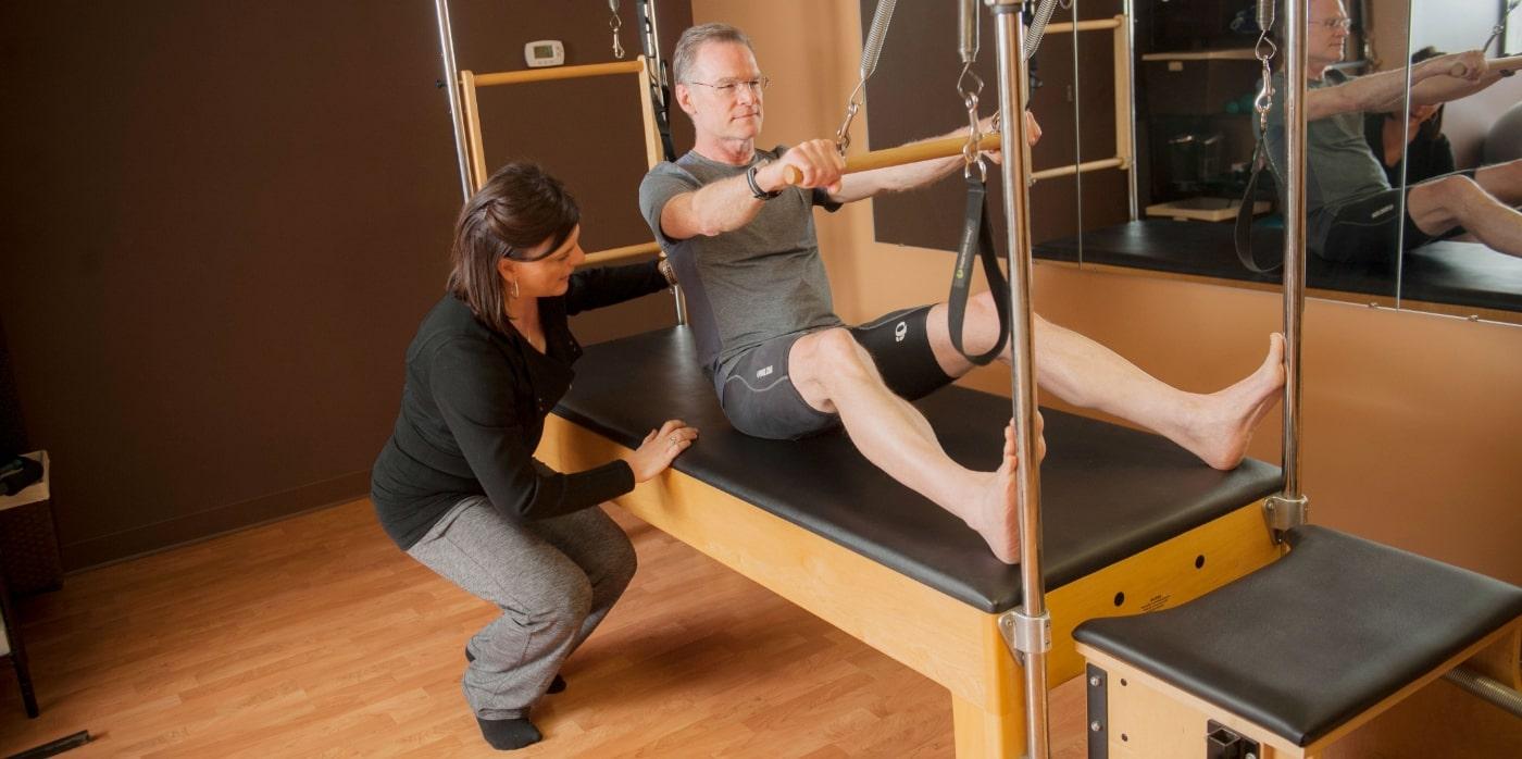 Man doing Pilates pose